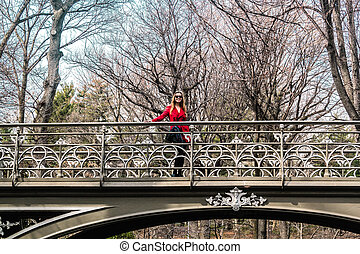 pont, central, parc ville, york, croisement, nouveau, girl, manhattan