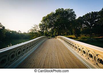 pont, central, sur, parc, lac, york., nouveau, manhattan