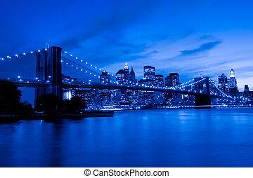 pont, coucher soleil, brooklyn, york, nouveau, manhattan