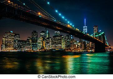 pont, horizon, bro, brooklyn, nuit, vu, manhattan