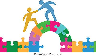 pont, joindre, aide, gens, puzzle, résoudre