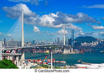 pont, jour, autoroute, hongkong