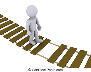 pont, marche, endommagé, personne