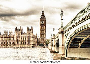 pont, parlement, automne, maison, ben, westminster, royaume-uni, grand, londres