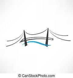 pont, résumé, route, icône