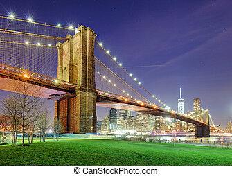 pont, rivière, ville, sur, parc, brooklyn, vert, york, nuit, nouveau, est, manhattan