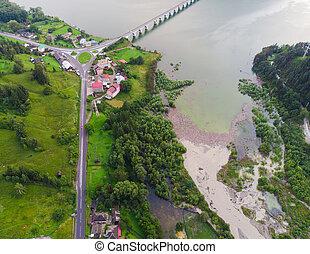 pont, roumanie, aérien, après, lac, flood., bicaz, vue