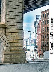pont, ville bâtiments, york, nouveau, manhattan