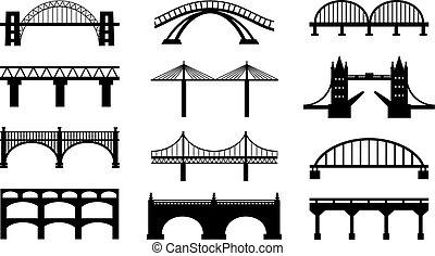 ponts, silhouettes, vecteur, icônes