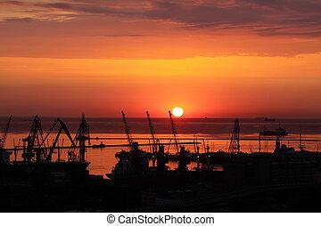 port, coucher soleil, ukraine, odessa