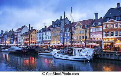 port, nyhavn, copenhague, nuit
