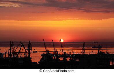 port, odessa, levers de soleil, ukraine