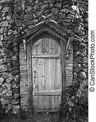 porte, bois, ancien, bâtiment