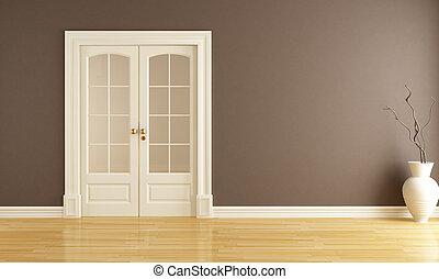 porte, glissement, vide, intérieur