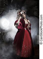 porter, femme, vieux, beauté, façonné, robe