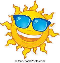 porter, soleil, lunettes soleil