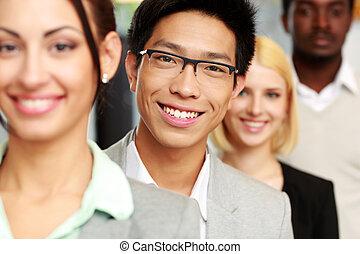 portrait, sourire, groupe, professionnels