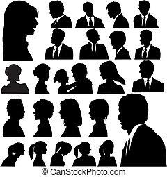 portraits, gens, silhouette, simple