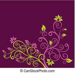 pourpre, floral, vecteur, vert, illustration