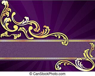 pourpre, horizontal, bannière, or