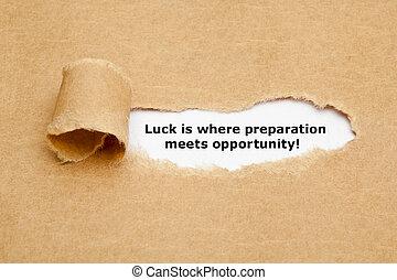 préparation, rencontre, occasion, où, chance