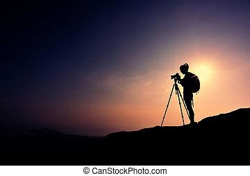 prendre, femme, photographe, photo