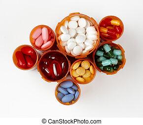 prescription, médicaments, bouteilles, rempli, coloré