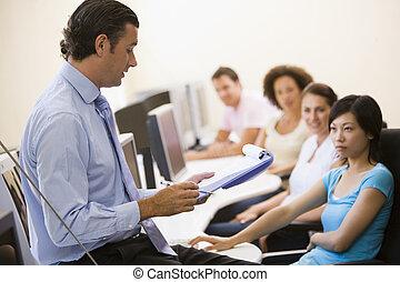 presse-papiers, donner, informatique, conférence, classe, homme