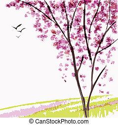 printemps, arbre, fleurir