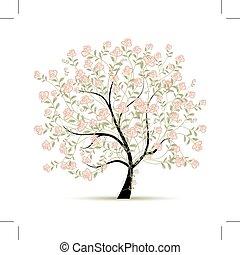 printemps, conception, arbre, ton, roses