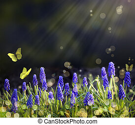 printemps, fleurir, art, prés