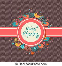 printemps, heureux, vendange, illustration, étiquette