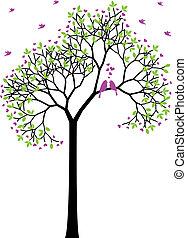 printemps, oiseaux, vecteur, amour, arbre