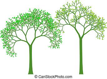 printemps, vecteur, arbres