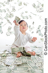 prise, argent, bébé, pluie, air