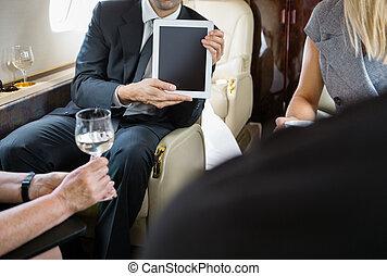 privé, collègues, réunion, jet, business