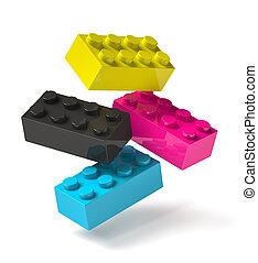 procédé impression, quatre, bâtiment, 3d, couleurs, blocs, voler