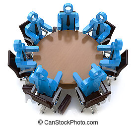 professionnels, -, derrière, séance, table, réunion, rond, 3d