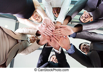 professionnels, ensemble, dessous, mains, vue