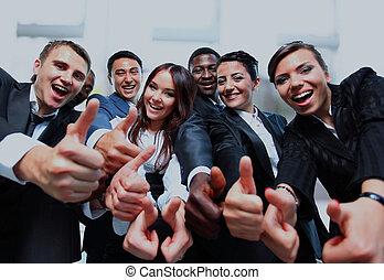professionnels, réussi, haut, sourire., pouces