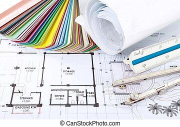 projet, architecte, concept, conception, dessins