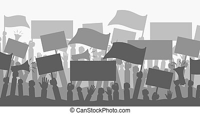 protesters., silhouette, foule, gens
