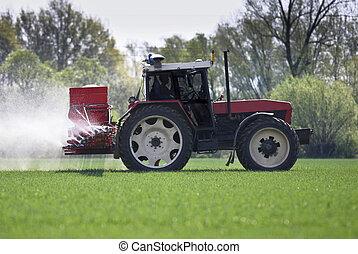 pulvérisation, pesticides/fertilizers, tracteur, classé