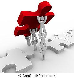puzzle, placer, collaboration, final, morceau