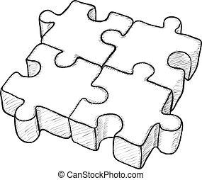 puzzle, vecteur, -, dessin, formé
