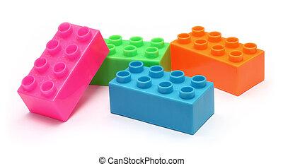 quatre, briques, jouet