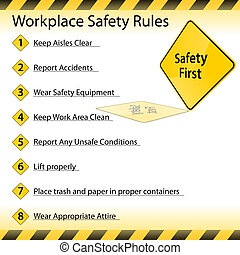 règles, sécurité, lieu travail