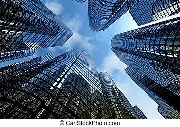 réflecteur, gratte-ciel, bureau affaires, bâtiments.