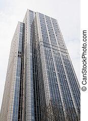réflecteur, sky., moderne, élevé, exterior., bleu, bâtiments, architecture, détail, technologie, bureau., bureau affaires, regarder, bâtiment, skyscraper., apartment., bâtiments., haut, horizon, verre