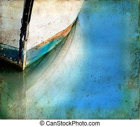 réflexions, grunge, bateau, fond, arc